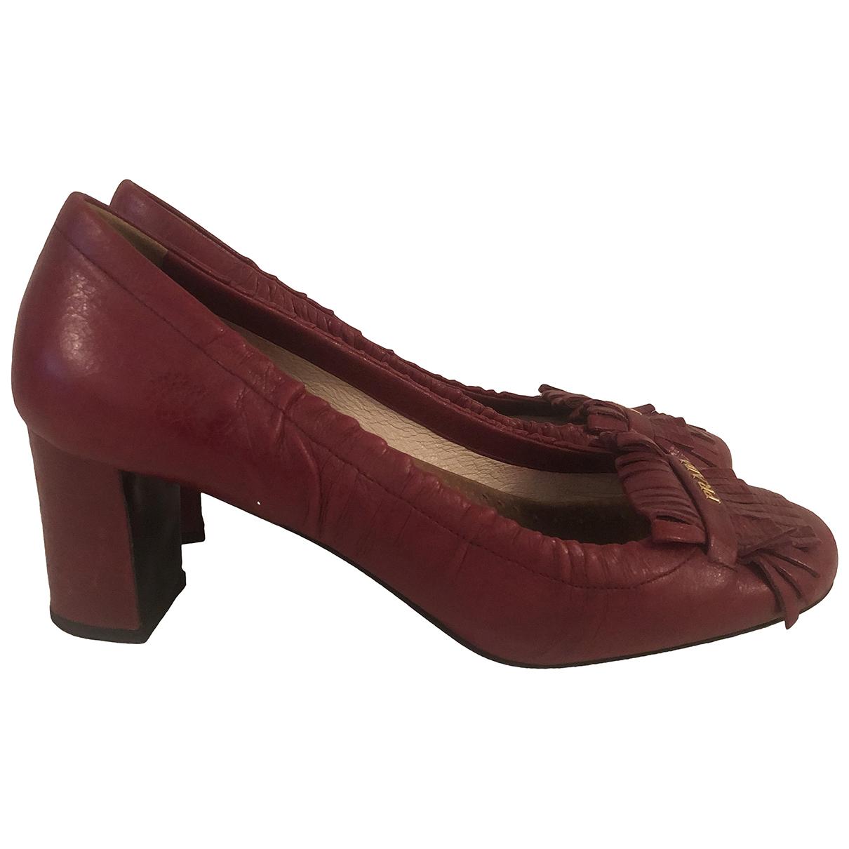 Prada \N Burgundy Leather Heels for Women 38 EU
