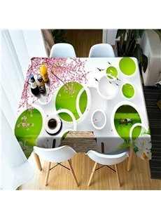 3D White Circles and Pink Cherry Blossoms Printed Oil-Proof and Decorative Table Cover