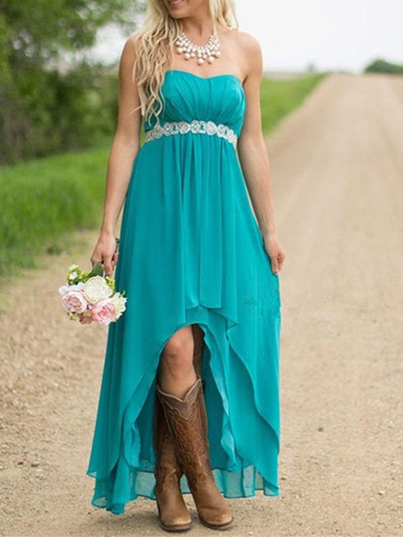 Ericdress Sweetheart Beaded High Low Bridesmaid Dress
