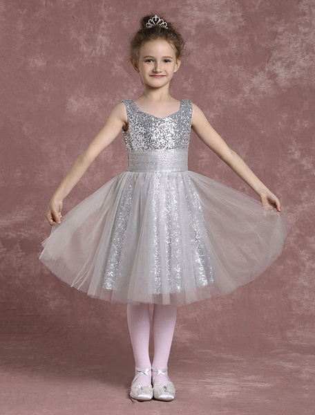 Milanoo Siquined Flower Girl Dresses Knee Length Pleated Pageant Dresses Toddler's Tulle U Neck A Line Dinner Dress