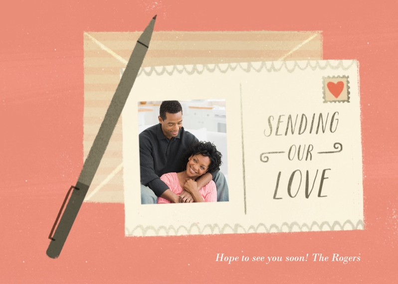 Valentine's Cards 5x7 Cards, Premium Cardstock 120lb with Scalloped Corners, Card & Stationery -Sending our Love
