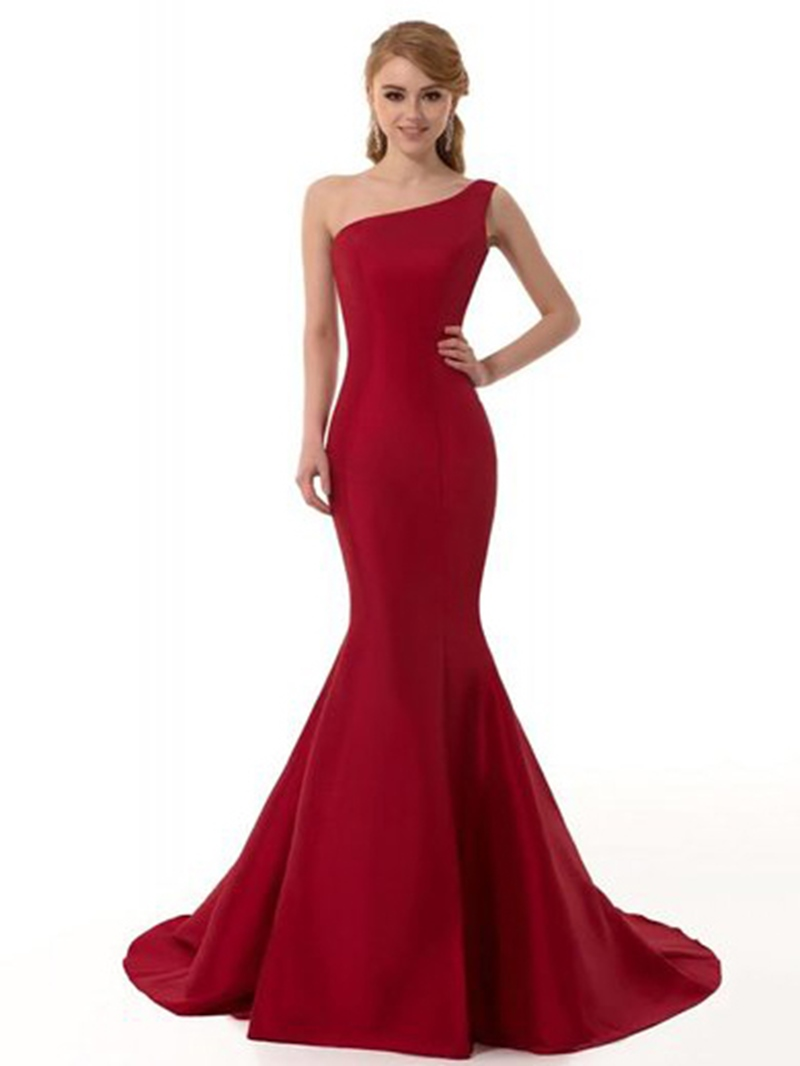 Ericdress Floor-Length One Shoulder Mermaid Red Prom Dress