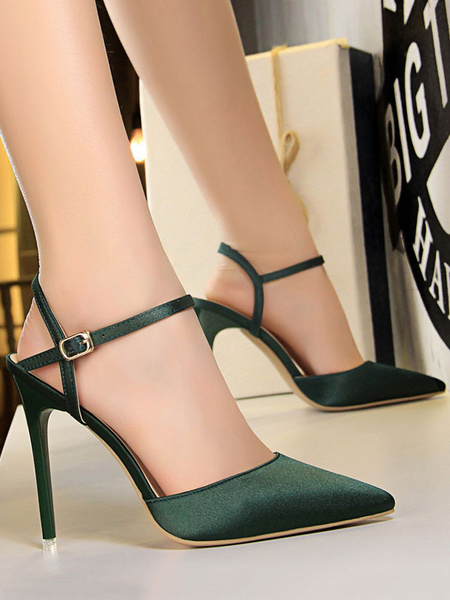 Milanoo Pink High Heels Satin Pointed Toe Buckle Detail Pumps Women Evening Shoes