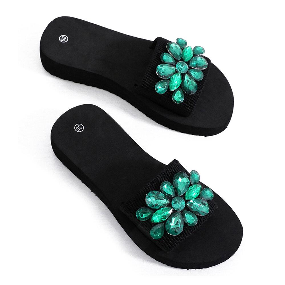 Women Rhinestone Decor Non Slip Beach Slides Slippers