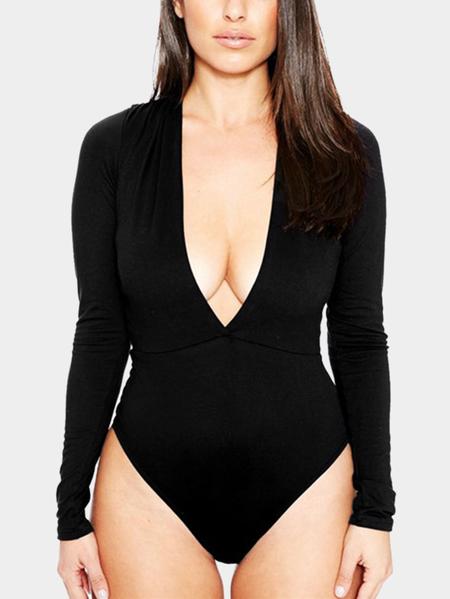 Yoins Black Sexy Bodycon V-neck Long Sleeves Bodysuit