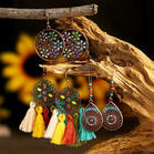 3 Pairs/Set Braided Tassel Pendant Vintage Earrings