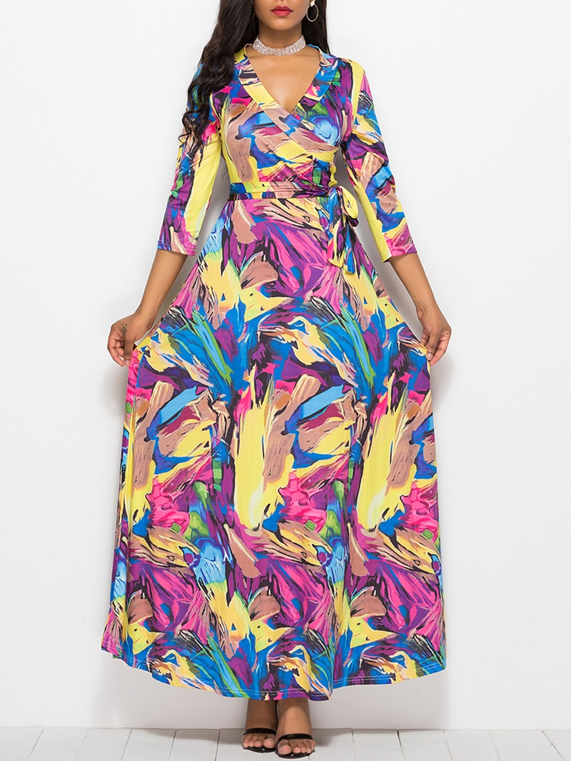 Ericdress V-Neck Floral Pastoral Maxi Dress