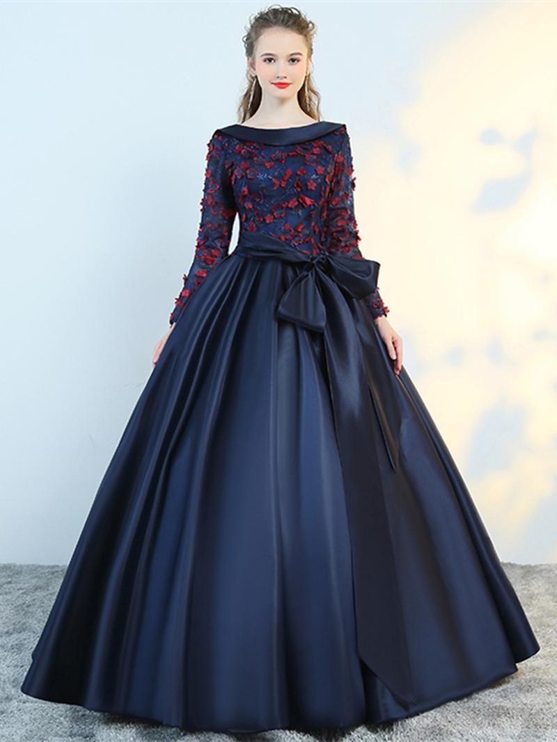 Ericdress Flower Applique Long Sleeve Ball Evening Dress With Bowknot