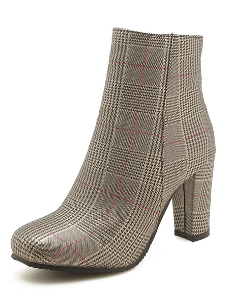Milanoo Women Ankle Boots Check Pattern Square Toe 3.3 Block Heel Booties