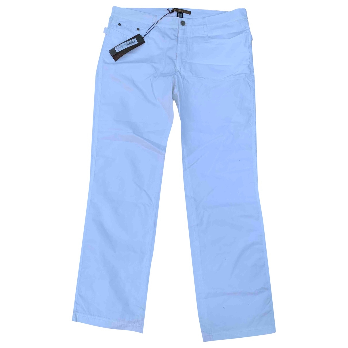 Class Cavalli \N White Cotton Trousers for Men 50 IT