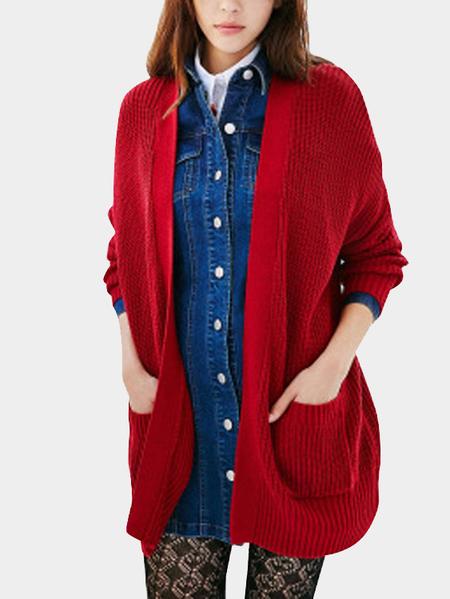 Yoins Red Fashion Loose Irregular Hem Cardigan