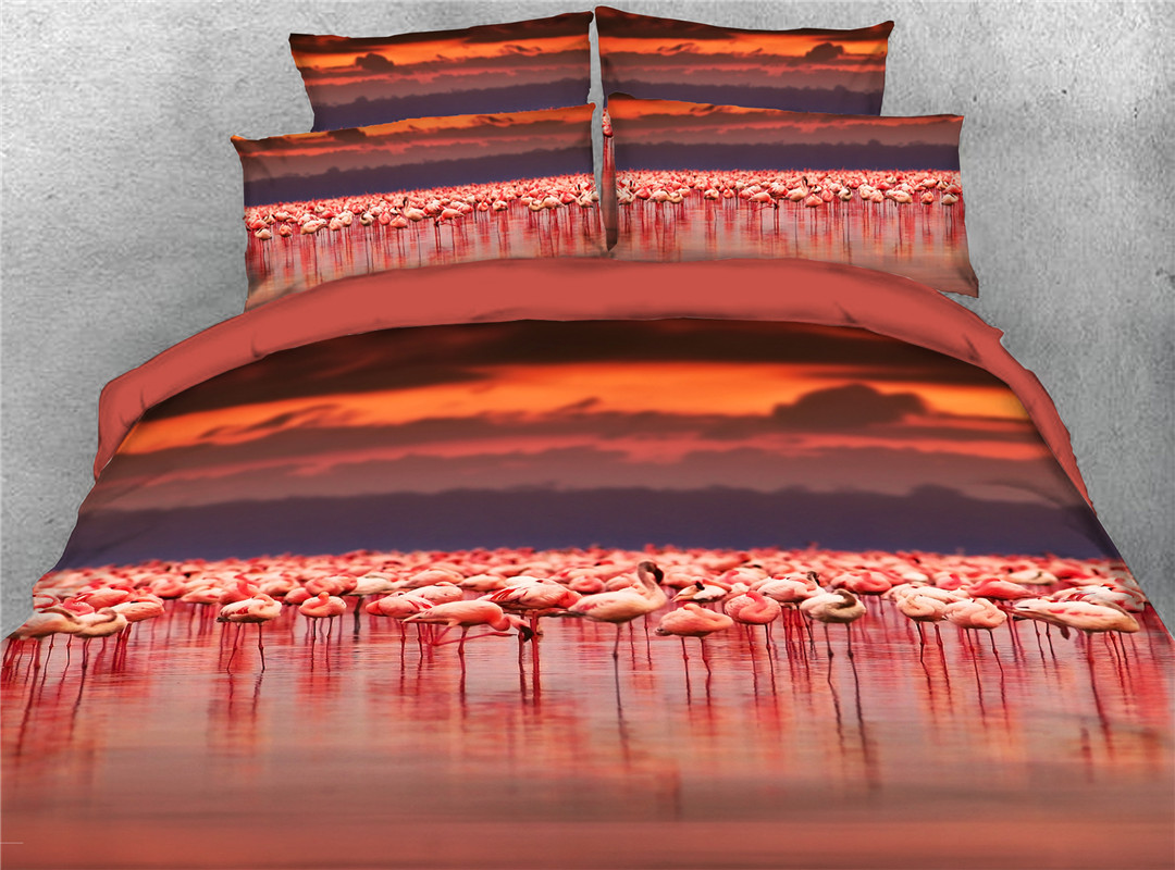 Flamingo Duvet Cover Set Hand Wash Four-Piece Set Polyester Bedding Sets Endurable Skin-friendly