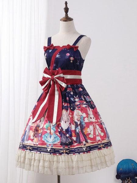 Milanoo Classic Lolita JSK Dress Showa Bunny Print Bow Ruffle Lolita Jumper Skirt