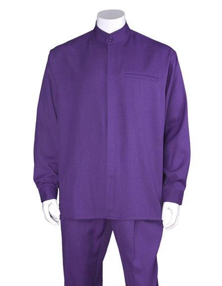 Men's Purple Long Sleeve Mandarin / Banded Collar Casual Walking Suit