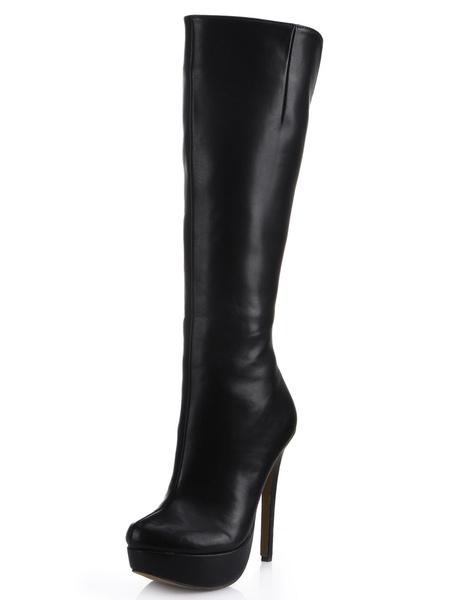 Milanoo Charming Platform Black High knee boots Almond Toe Stiletto Heel PU Leather Women's Knee Length Boots