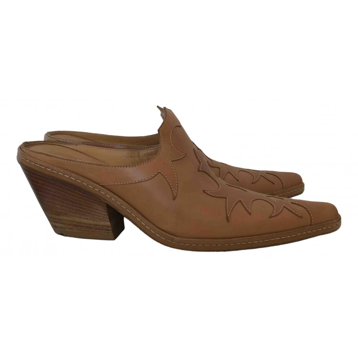 Sartore \N Beige Leather Mules & Clogs for Women 37 EU