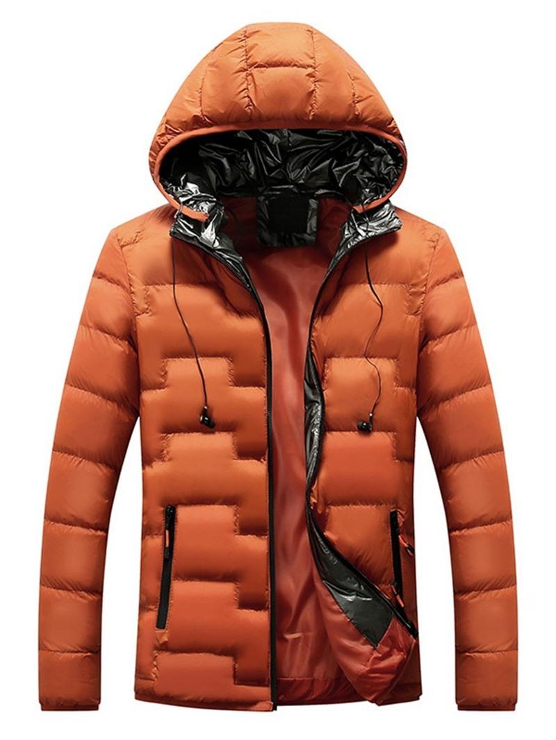 Ericdress Hooded Standard Patchwork Zipper European Men's Down Jacket