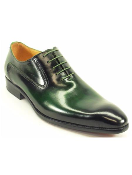 Carrucci Men's Lace Up Style Emerald Genuine Leather Oxford Shoes