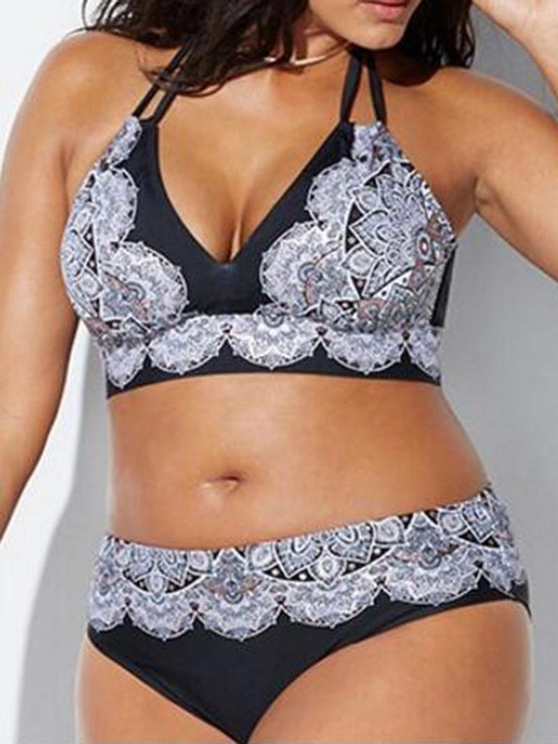 Ericdress Plus Size Lace Print Swimsuit