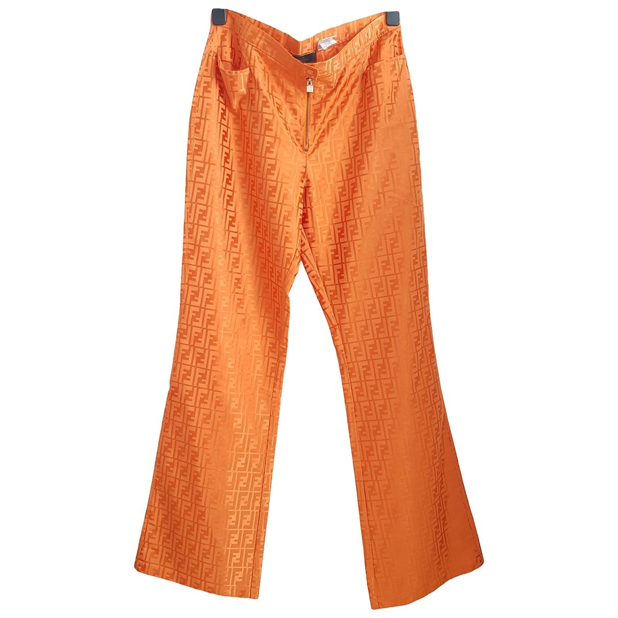 Fendi \N Orange Cotton Trousers for Women 48 IT