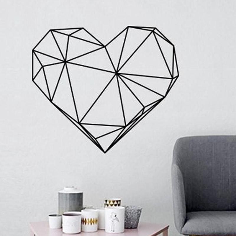 Geometric Love Heart Shape Romantic Decals Wall Sticker
