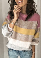 Color Block Splicing Knitted O-Neck Sweater - Pink