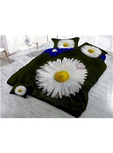 Blooming White Daisy Wear-resistant Breathable High Quality 60s Cotton 4-Piece 3D Bedding Sets