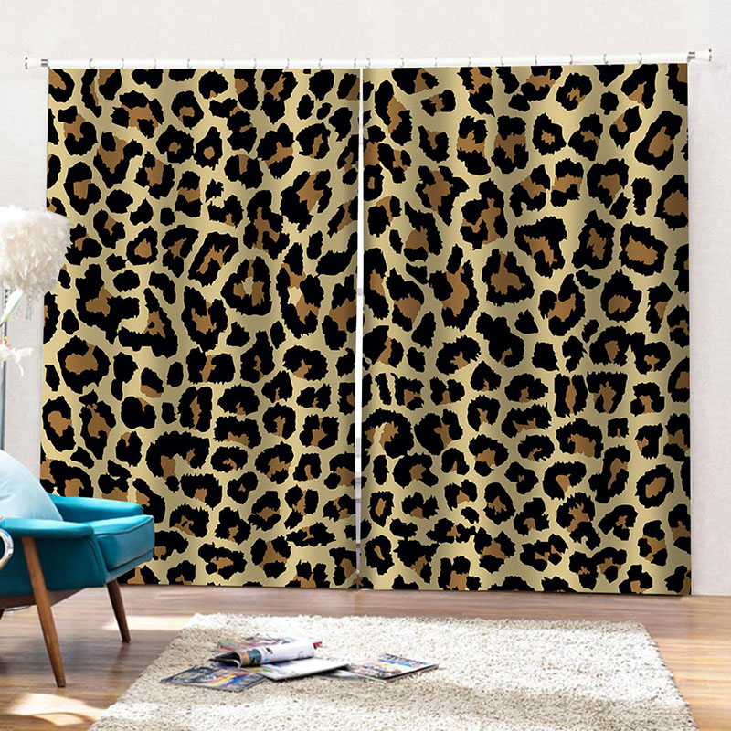 Room Darkening Blackout 3D Leopard Print  Blackout Curtains 2 Panel Set 80 Inches Wide and 84 Inches Long with Good Shading Effect and Anti-ultraviole