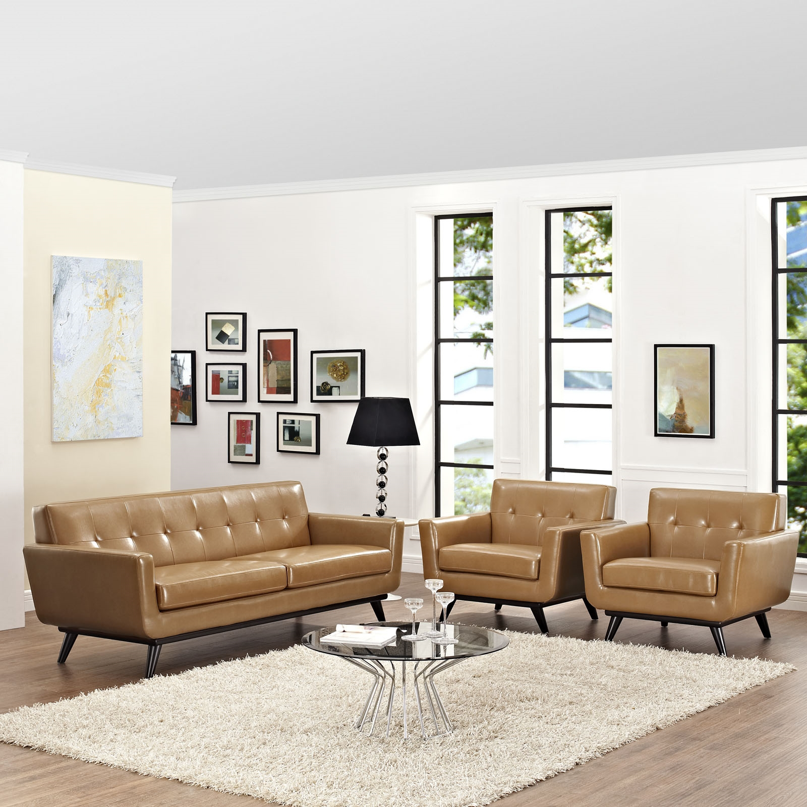 Engage 3 Piece Leather Living Room Set in Tan