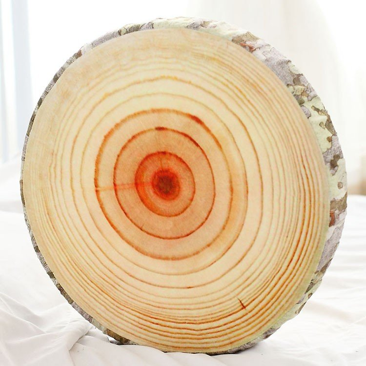3D Stump Log Wood Throw Pillow Sycamore Tree Cushion Home Office Car Decor