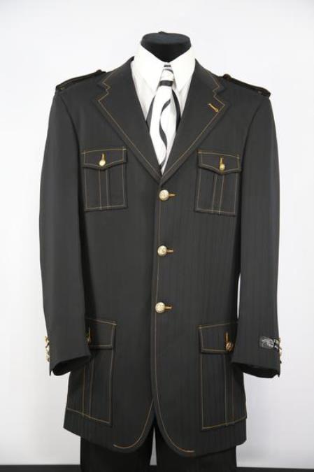 Mens Naval Style Zoot Black Notch Lapel Flap Pocket