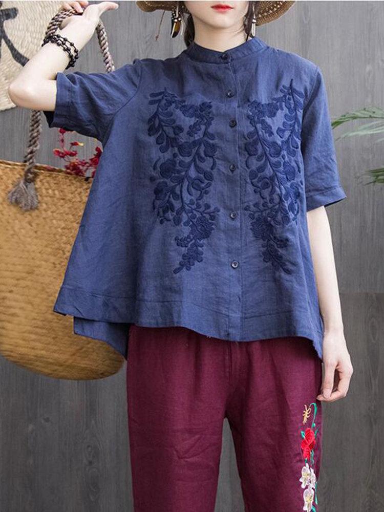 Vintage Irregular Embroidered Short Sleeve Stand Collar Blouses