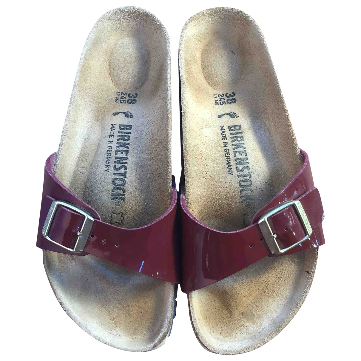 Birkenstock \N Burgundy Patent leather Mules & Clogs for Women 38 EU