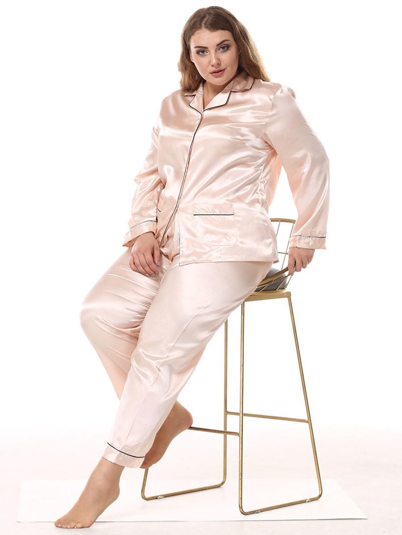 Ericdress Plus Size Pocket Simple Long Sleeve Women's Pajama Set