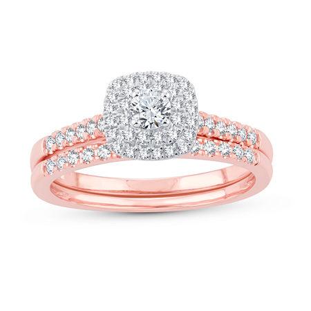 Womens 1/2 CT. T.W. Genuine White Diamond 10K Rose Gold Bridal Set, 6 , No Color Family