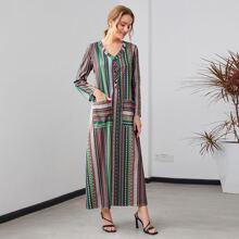 V-neck Striped Dual Pockets Dress