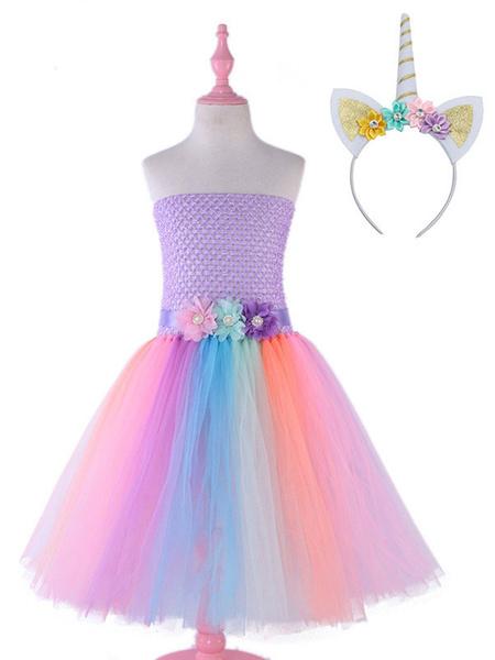 Milanoo Rainbow Unicorn Dresses Baby Girls Flowers Princess Tutu Fancy Dress Headband Kids Halloween Costume