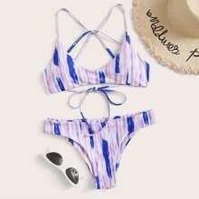 Tie Dye Tie Back Bikini Swimsuit