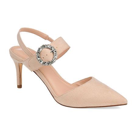 Journee Collection Womens Cecelia Pointed Toe Stiletto Heel Pumps, 8 Medium, Beige