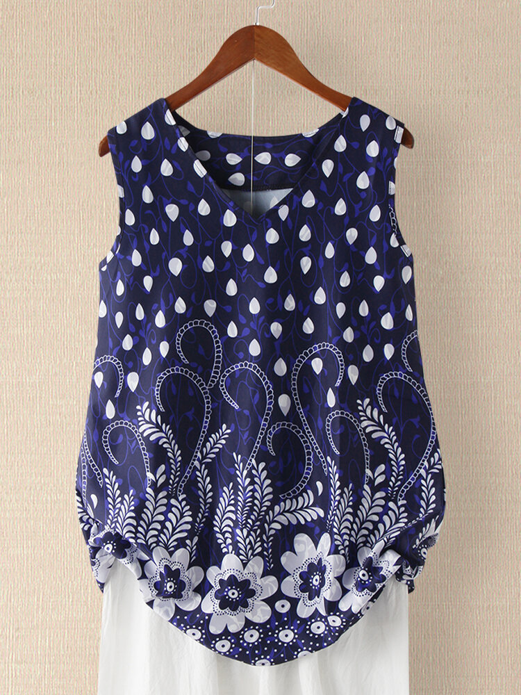 Dot Floral Print Sleeveless Casual Tank Top For Women