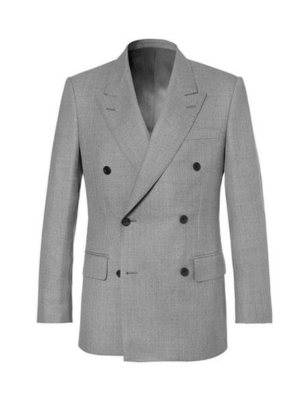 kingsman harry light grey Double Breasted Wool suit