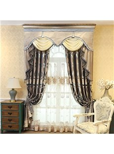 Luxury Rustic Rod Floral Embroidery Sheer Curtains For Living Room