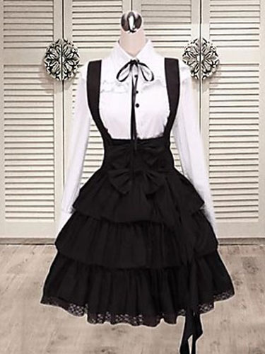 Milanoo Black Cotton Straps Lolita Skirt Salopette Layered Ruffles