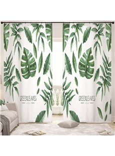 Concise Style Green Leaves 3D Painted Custom Semi-blackout Curtains