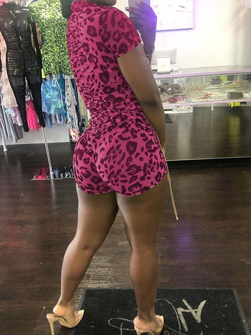 Ericdress Belt Sexy Leopard Skinny Romper