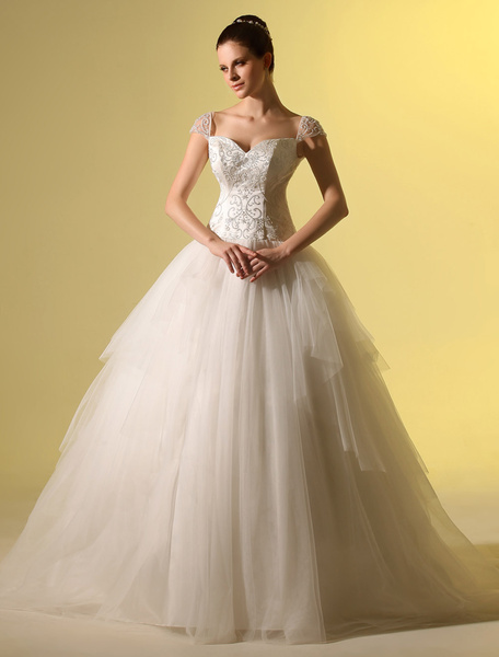 Milanoo Ivory A-line Sweetheart Neck Flower Sequin Bridal Wedding Gown