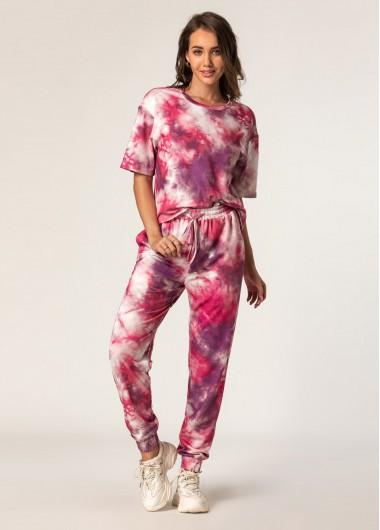 Tie Dye Print Top and Drawstring Waist Pants - L