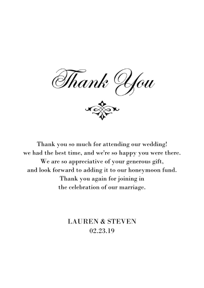 Wedding Thank You 5x7 Cards, Premium Cardstock 120lb with Rounded Corners, Card & Stationery -Wedding Flourish - Thank You