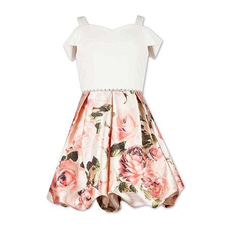 Speechless Big Girls Short Cold Shoulder Sleeve Fit & Flare Dress, 16 , Pink