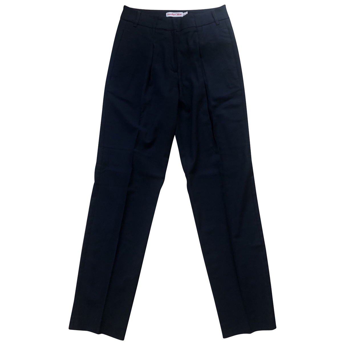 See By Chloé \N Navy Wool Trousers for Women 40 IT